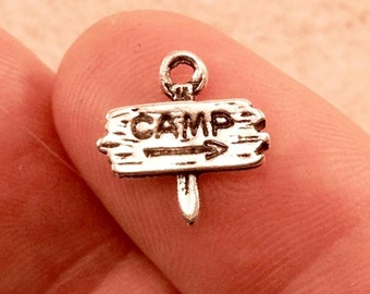 Camp Sign Charm. 10 pcs Antique Silver Tone Camper Sign Charm 13x13mm. Sign Pendant. Camp Charm. Text Charm. Word Pendant. - (10 - 0045B)