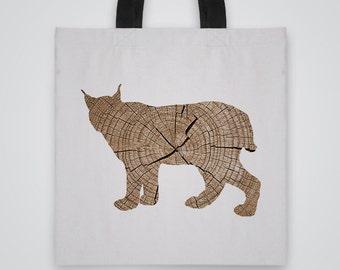 Wood Lynx Silhouette Tote Bag - Art Tote - Market Bag - Shoulder Bag - Canvas Bag
