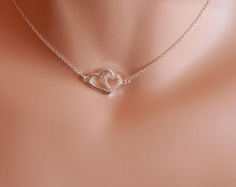 Dainty Heart Necklace Silver Heart Necklace Delicate Silver Heart Charm silver love heart necklace, heart pendant dainty heart choker