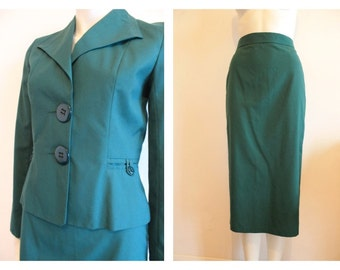 Vintage Green Pencil Suit by Chelsea Girl X Small