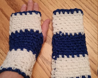 Hand made crochet Blue and White Fingerless Gloves