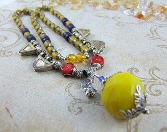 Antique Venetian Trade Beads Handmade Classical Necklace - Yellow