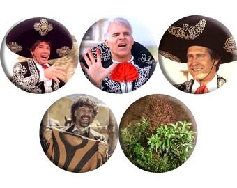 Set of FIVE Three Amigos! film badges (1986) handmade film / movie badge set [Steve Martin, Chevy Chase, Martin Short]