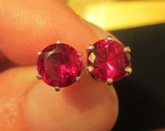 7mm lab ruby stud earrings