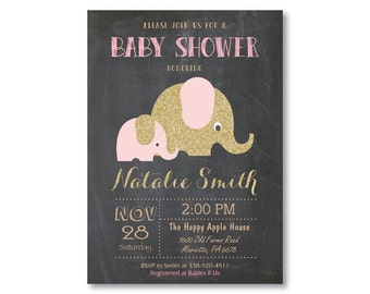 Pink and Gold Elephant Baby Shower Invitation. Girl Baby Shower Invitation. Gold Glitter. A Little Peanut Elephant Shower. Printable Digital