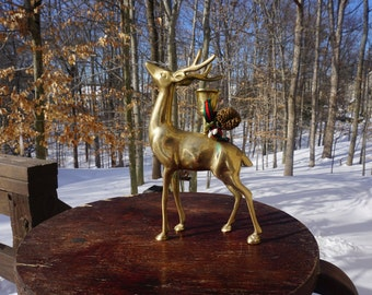 Brass Deer Standing Tall Stag - Candle Holder - 1984 Enesco