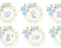 kawaii cute blue garden flowers social icons / social media / clip art / digital art