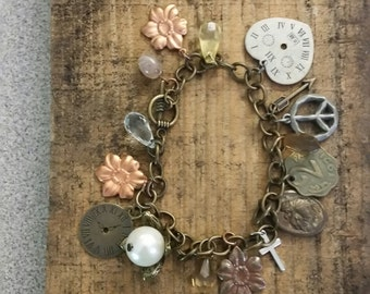 Mixed Metal Bracelet, Charm Bracelet, Upcycled Bracelet, Unique Bracelet, Vintage Charm Bracelet, Repurposed Bracelet, Altered Bracelet