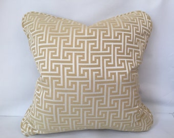 "Gold and Cream Greek Key Pillow covers, Greek key fabric, 18"" x 18"""