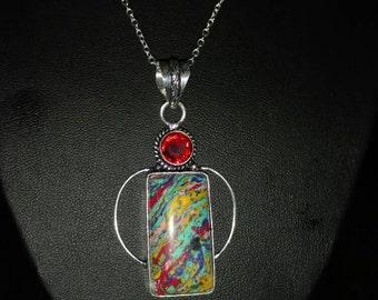 """Rainbow Stone Pendant Necklace.  Stone measures 1 1/4""""."""