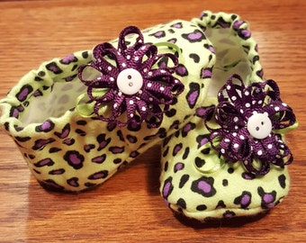 Baby Girl Shoes, Baby Shoes, Girl Shoes, Leopard Print Shoes, Purple and Green Shoes