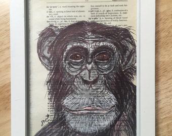Original Art Chimp Portrait on Dictionary Paper