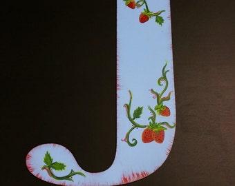 Strawberry Vine Handpainted Letter, Initial, Roman block font, Door hanger, Wall hanging, Gift