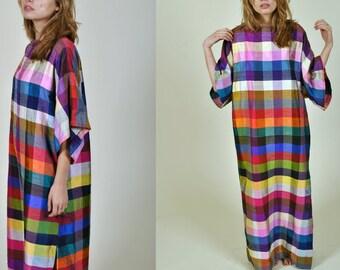 Vintage 1970's  Bill Blass Multi Colored Silk Maxi Caftan dress size small