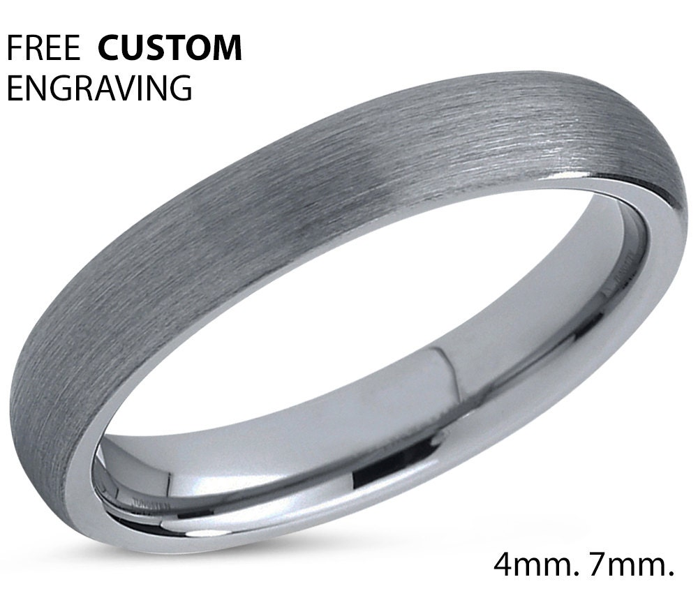 tungsten ring mens silver grey wedding band by bellyssajewelry