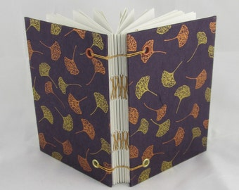 Handmade Silver Bronze Maroon Leaf Design Coptic Stitch Sketchbook Journal with Grommets