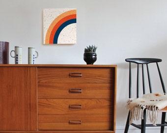 geometric minimal art, mid century modern art, rainbow, scandinavian art, scandinavian decor, geometric wall art, minimal art, retro art 70s