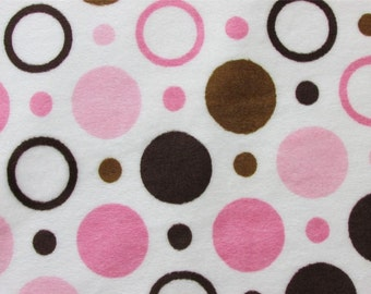 Pink Polka Dot Minky Fabric Sold by the Yard