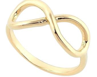 Infinity Love 14K Yellow Gold Ring Women Fashion Jewelry Gift