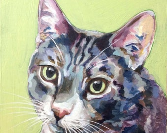 Custom Pet Portrait 6x6 George Gray and White Tabby Custom Cat Painting