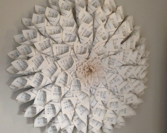 Hymnal Book Page Wreath with White Flower