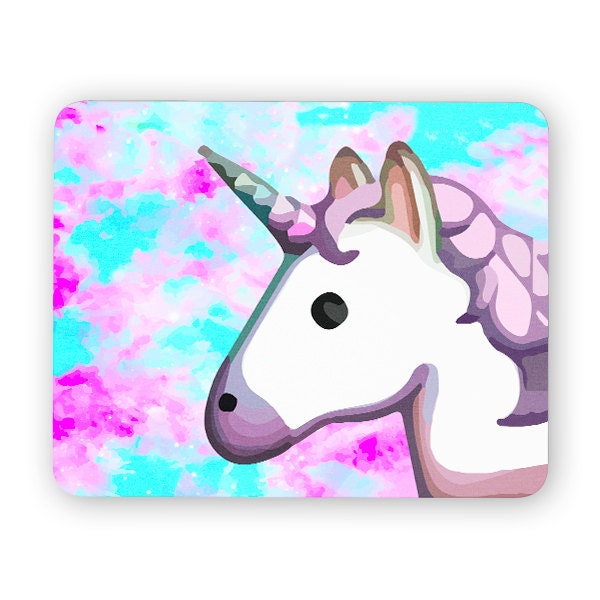 Unicorn Emoji Space Rainbow Mouse Pad Mouse Mat By Poosparkles
