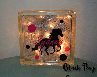 Personalized Horse Light Up Glass Block Night Light