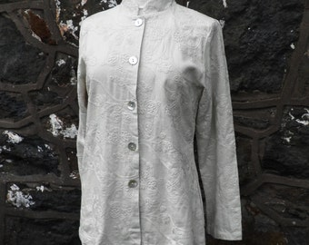 Vintage Embroidered Cream Linen Jacket with Mandarin Collar   Size M