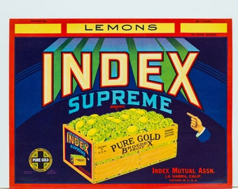 Original 1940s Fruit Crate Label Lemons