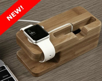iPhone & Apple Watch Docking Station, the TANDEM in WALNUT.