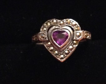 Amazing Amethyst heart sterling silver ring size 6 1/2