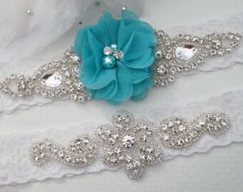 Teal Wedding Garters, Bridal Garter Set, Lace Wedding Garter, Turquoise Wedding, Custom Wedding Garter