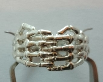 Handcrafted Skeleton Hand Ring Sterling Silver