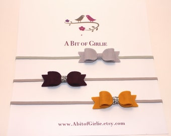 Mini Wool Felt Bow set, baby headband, Newborn headband, Newborn Photoprop, headband