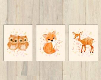 Woodland nursery set, baby girl nursery, fawn nursery, fox nursery, nursery prints, nursery wall art, nursery art, nursery set of 3
