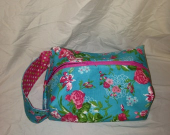 Floral and Polka Dot Lined Boxy Bag