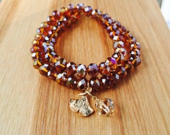 Layering Bracelet of Brown Topaz and Glass Beads