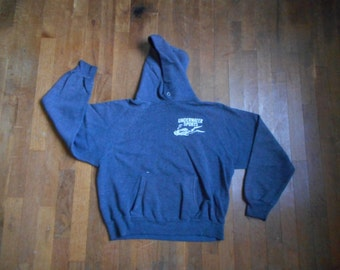 vintage 70s underwater sports diving raglan faded blue pullover kangaroo hoodie divers fan souvenir sweatshirt
