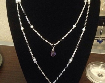 Amethyst, Quartz, and Freshwater Pearl Necklace