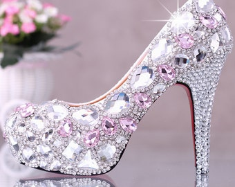 Stylish Womens Bling Rhinestone Bride  Wedding Shoes with personalized exclusive signature design and ankle strap