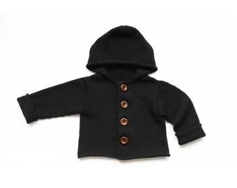 Baby cardigan - Baby sweater - Knit baby cardigan - Black cardigan - Merino wool cardigan - Baby wool sweater - Baby knit cardigan