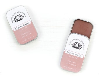 Natural Tinted Lip Balm - Organic Beeswax, Jojoba & Cocoa Butter with Peppermint Essential Oil and Natural Red and Pink Clay