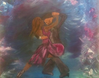 Acrylic Painting wall art canvas art valentine's day special! Couple dancing