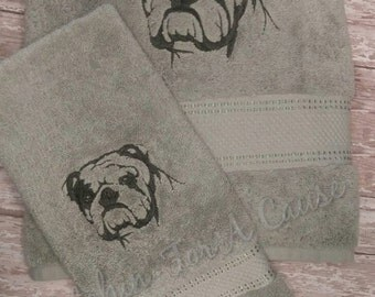 English Bulldog Bath Towel Set - Two different Style Towels