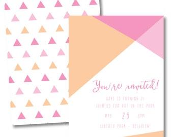 geometric // triangle invitation // birthday invitation // shower invitation // announcement