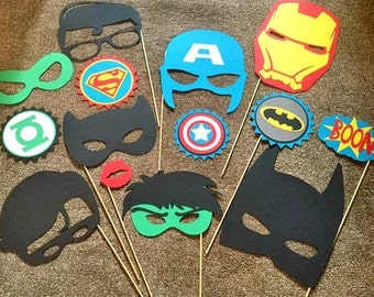14pc SUPER HERO party photo booth props hulk, captain america, avengers, iron man, batman, super hero party birthday party party props