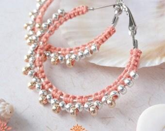 Beach ear hoops, macrame earrings,  Bohemian hoop earrings, hippie jewelry, indian inspired jewelry, beaded hoop earrings, handmade jewelry