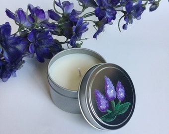 Lilac Candle/ 6oz tin/ handpainted/ natural soy wax/ refillable/ zero waste/ Mother's Day Gift