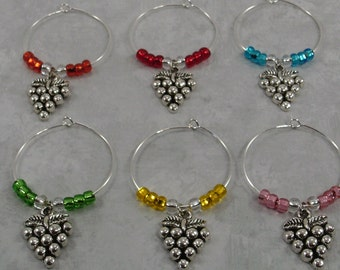 Grape Wine Glass Charms | Grape Cluster Wine Charms | Wedding Rehersal Dinner Gift