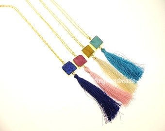 Small Square Quartz Druzy Tassel Pendant Necklace Gold edge Gemstone Edgy Natural stone Necklace TNK-0002